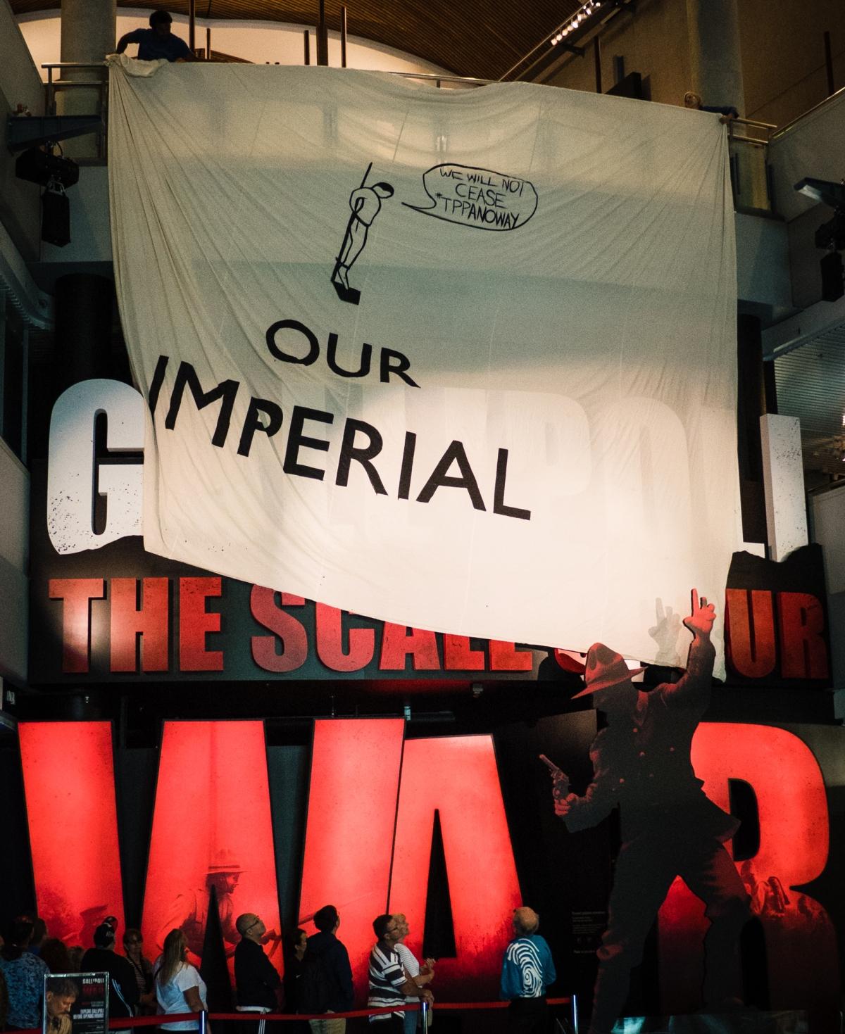 Anti-propaganda banner drop at Te Papa's Gallipoli exhibition